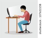 illustration of tired man... | Shutterstock .eps vector #137622158