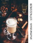 irish coffee in drinking glass... | Shutterstock . vector #1376222828