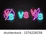 set of vector neon glowing... | Shutterstock .eps vector #1376228258