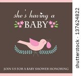 she's having a baby card design.... | Shutterstock .eps vector #137624822
