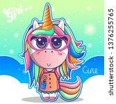 cute unicorn  baby shower card... | Shutterstock .eps vector #1376255765