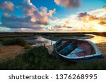 beautiful sunset in the salt...   Shutterstock . vector #1376268995