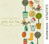 card template with potted tree  ... | Shutterstock .eps vector #137627372