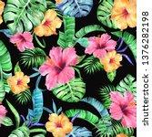 tropic vivid patten on a black... | Shutterstock . vector #1376282198