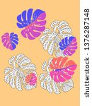 vector tropical pattern with... | Shutterstock .eps vector #1376287148