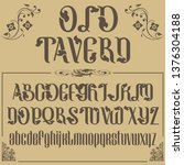 old tavern. vector letters and... | Shutterstock .eps vector #1376304188