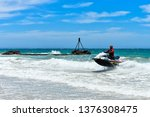 Surf Rescuer On The Jet Ski At...
