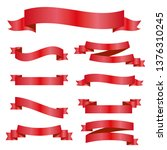 red ribbons set. vector design... | Shutterstock .eps vector #1376310245