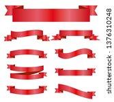 red ribbons set. vector design...   Shutterstock .eps vector #1376310248