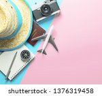 summer travel accessories on... | Shutterstock . vector #1376319458