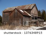 Old Brown Barn With Wood Siding ...