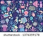 underwater sea flora and fauna... | Shutterstock .eps vector #1376359178