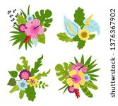 set of tropical bouquets of... | Shutterstock .eps vector #1376367902