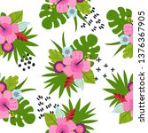 seamless pattern with tropical... | Shutterstock .eps vector #1376367905