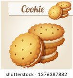 cookie with white cream.... | Shutterstock . vector #1376387882