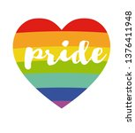 rainbow heart with  handwritten ... | Shutterstock . vector #1376411948