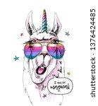 fun llama in a unicorn mask ... | Shutterstock .eps vector #1376424485