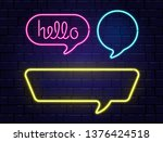 neon speech bubbles set with... | Shutterstock .eps vector #1376424518