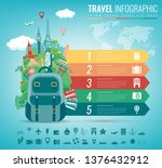travel infographic with world... | Shutterstock .eps vector #1376432912