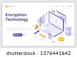 landing page with laptop... | Shutterstock .eps vector #1376441642