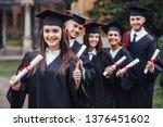 happy cute brunette caucasian... | Shutterstock . vector #1376451602