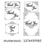 thank you card set. framed... | Shutterstock .eps vector #1376459585