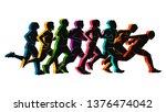 running marathon  people run ... | Shutterstock .eps vector #1376474042