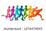 running marathon  people run ... | Shutterstock .eps vector #1376474045