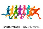 running marathon  people run ... | Shutterstock .eps vector #1376474048