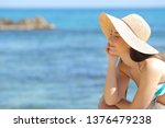 relaxed sunbather with closed...   Shutterstock . vector #1376479238