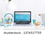 computer staying on a table  ... | Shutterstock . vector #1376517755