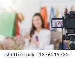 beautiful asian woman blogger... | Shutterstock . vector #1376519735