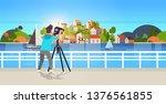 man travel photographer taking... | Shutterstock .eps vector #1376561855