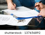 hands of two men signed the... | Shutterstock . vector #137656892
