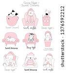 cute baby animals cartoon hand... | Shutterstock .eps vector #1376592212