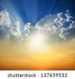 Stock photo sunset with sun rays 137659532