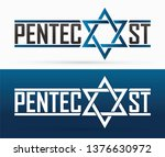 pentecost text with israel star ... | Shutterstock .eps vector #1376630972
