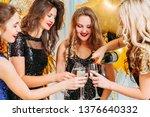 fancy party. blonde girl... | Shutterstock . vector #1376640332