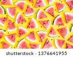 watermelon pattern. red...   Shutterstock . vector #1376641955