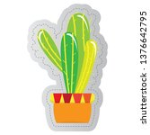 dotted sticker of a cactus.... | Shutterstock .eps vector #1376642795