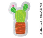 dotted sticker of a cactus.... | Shutterstock .eps vector #1376642798