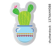dotted sticker of a cactus.... | Shutterstock .eps vector #1376644088