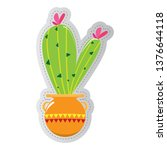 dotted sticker of a cactus.... | Shutterstock .eps vector #1376644118