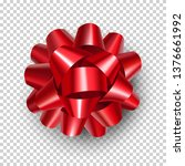 beautiful red ribbon bow with... | Shutterstock .eps vector #1376661992