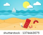 cool summer sea and beach.... | Shutterstock .eps vector #1376663075