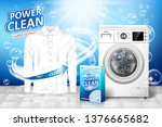 laundry detergent ad. stain... | Shutterstock .eps vector #1376665682
