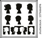 children silhouettes and banner | Shutterstock .eps vector #137666696