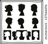 children silhouettes and banner | Shutterstock .eps vector #137666696