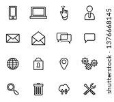 online icons set simple flat...