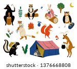 Stock vector collection of animals characters having hiking adventure travel or camping trip vector illustration 1376668808